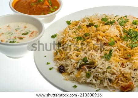 Vigetable Briyani - basmati rice vith herbs - stock photo