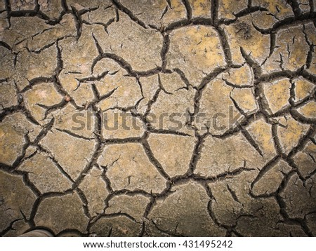 vignette The cracked ground, Ground in drought, Dry land. Global warming - stock photo