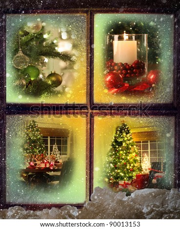 Vignettes of Christmas scenes seen through a wooden window - stock photo