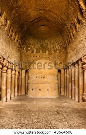 Vihara or Prayer Hall at Kanheri Caves in Sanjay Gandhi National Park, India. - stock photo
