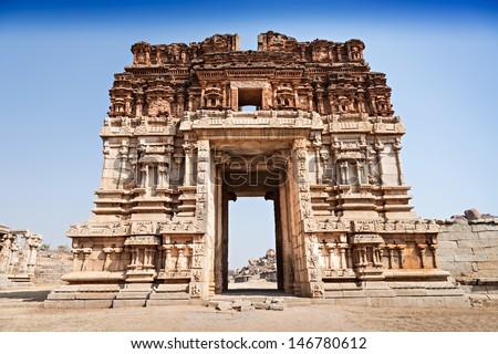 Vijayanagara hindu temple and ruins, Hampi, India - stock photo