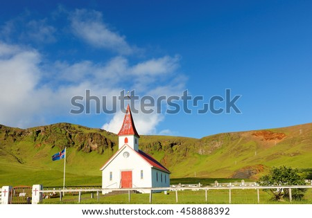 Vik, Iceland - July 5, 2016: Reyniskirkja Church at Vik, Iceland. The Reyniâ??s Church belongs to the Vik benefice in the Skaftafell Deanery.