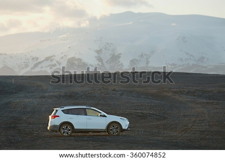 VIK, ICELAND - MAY 08, 2015. Toyota RAV4 four wheel drive SUV being used on Iceland's unpaved roads and terrain.