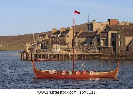 Viking boat at Lerwik, Shetland island. - stock photo