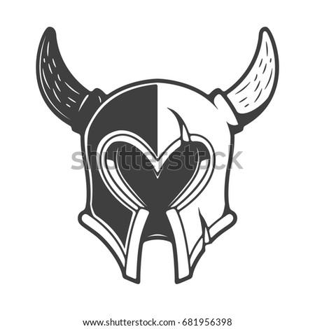 Viking Helmet Isolated On White Background Stock Illustration ...