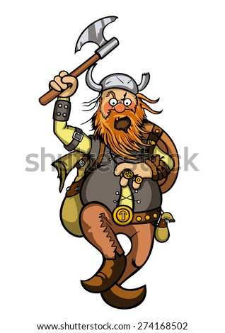 Viking in attack. Illustration a cartoon furious viking with an axe in attack. - stock photo
