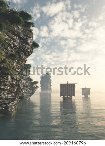 Viking longships following the coastline in unknown waters, 3d digitally rendered illustration - stock photo