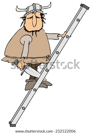 Viking on a ladder - stock photo