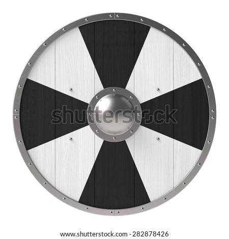 Viking shield with black-white cross pattern - stock photo