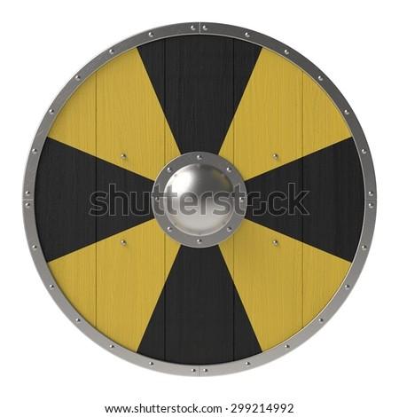 Viking shield with black-yellow cross pattern - stock photo