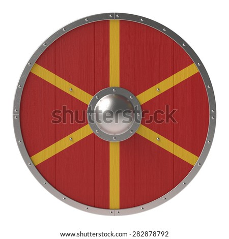 Viking shield with red-yellow pattern - stock photo