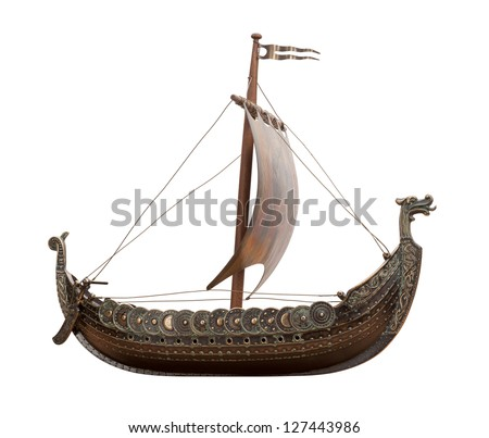 Viking Ship isolated on white background - stock photo