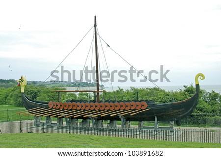 Viking Ship Replica, Pegwell Bay, Thanet, Kent, UK - stock photo