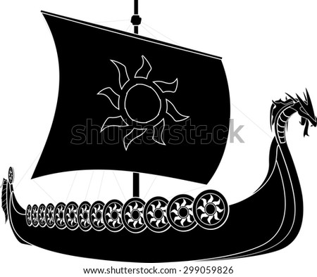 viking ship. stencil. second variant. raster version - stock photo
