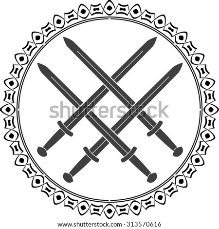 viking symbol with swords - stock photo