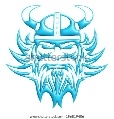 ... head mascot in 3d light blue on white background. - stock photo
