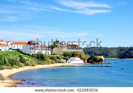 Vila Nova de Milfontes in  The River Mira estuary, Portugal  - stock photo