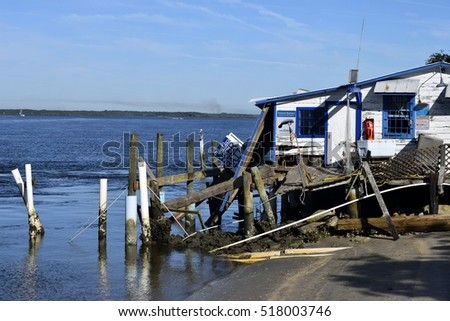 VILANO BEACH, FLORIDA, USA - OCTOBER 23, 2016: Aftermath of bait shop being destroyed by hurricane Matthew hitting along the east coast of Florida on October 7, 2016