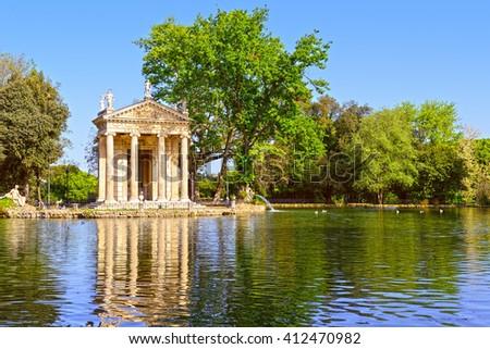 Villa Borghese in Rome, Temple of Esculapio, Pincian Hill, Italy. - stock photo