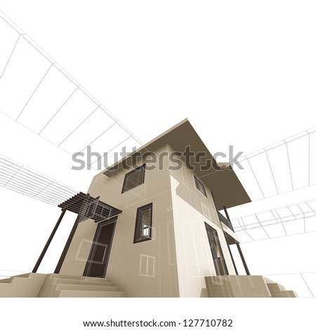 Villa construction. High quality 3d render - stock photo