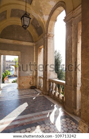 Villa d`Este fountain and garden , Tivoli, Italy.Rome - stock photo