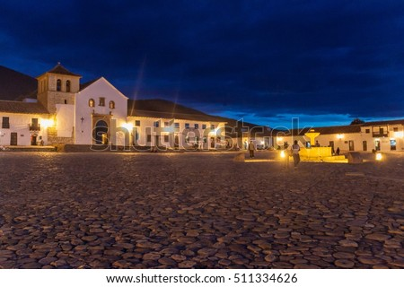 VILLA DE LEYVA, COLOMBIA - SEPTEMBER 21, 2015: Parish church at Plaza Mayor square in colonial town Villa de Leyva, Colombia