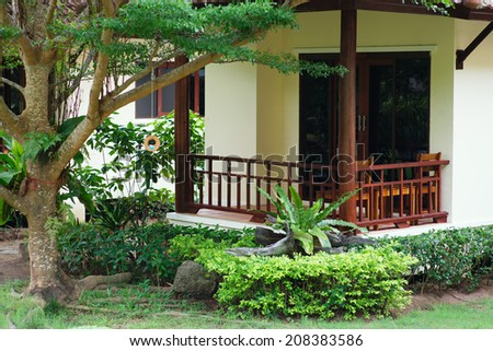 Villa, gardening, landscaping, park decoration and design - stock photo