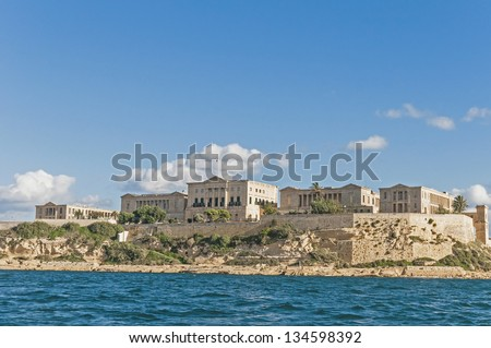 Villa Giovanni Bighi in Kalkara, overlooking the entrance of the Grand Harbour of Valletta, Malta - stock photo