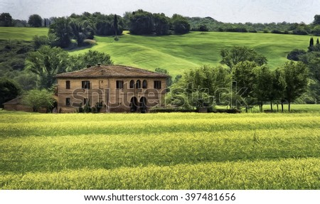 Villa in Tuscany Surrounded by Yellow Flowers - stock photo