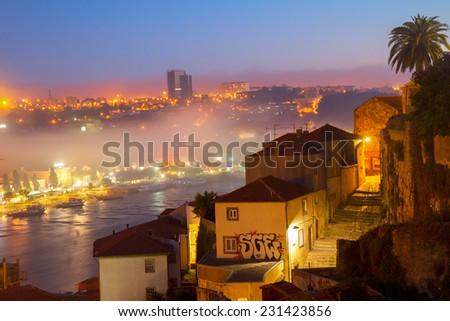 Villa Nova di Gaya and Porto old town at night, Portugal - stock photo