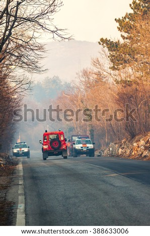 VILLA OPICINA,TRIESTE,ITALY - MARCH 6, 2013 - Civil protection of Friuli Venezia Giulia in action for extinguish a big fire in the forest.