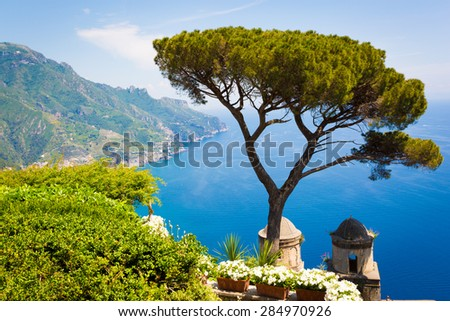 Villa Rufolo, Ravello, Amalfi Coast in a beautiful summer day. - stock photo