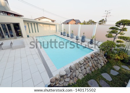 Villa with swimming pool -1 - stock photo