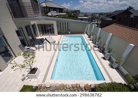 Villa with swimming pool-4 - stock photo