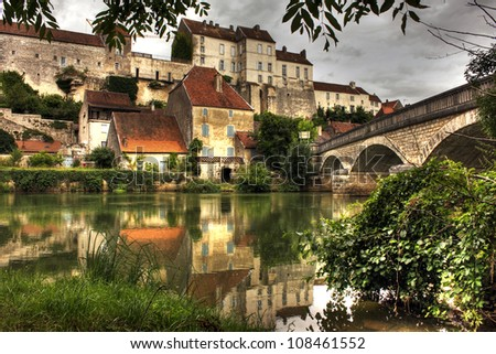 Village at Pesmes, Burgundy - France - stock photo