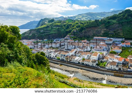 Village between mountains, island of Sao Miguel, Azores, Portugal, Europe - stock photo
