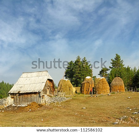 Village houses of the National Park Durmitor Mountains, Montenegro, World Heritage Site by UNESCO - stock photo