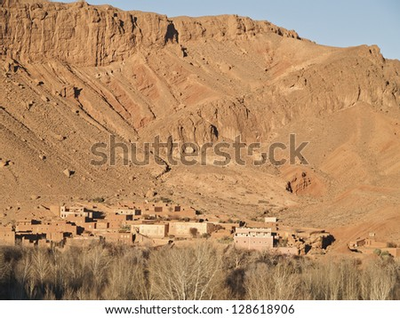Village in Atlas mountains , Morocco. There are a lot of villages around Atlas. - stock photo