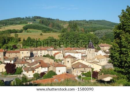 Village in Beaujolais (France) - stock photo