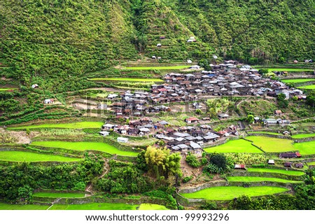 Village in Cordillera mountains, Luzon, Philippines - stock photo