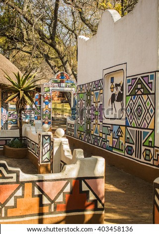 Village In Ethnic Ndebele Painting Style South Africa Tribal Art Rondavel
