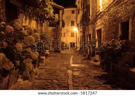 Village in Istria at night (Groznjan, Croatia) - stock photo