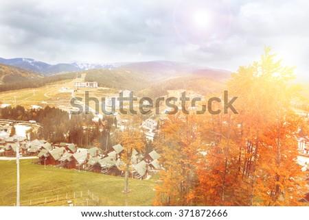 Village in mountains - stock photo
