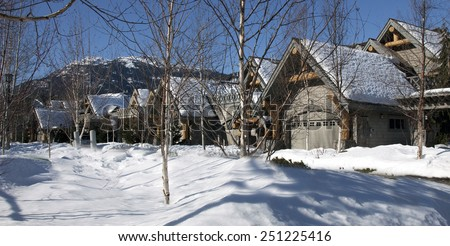 Village in spring, Whistler, British Columbia, Canada - stock photo