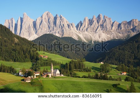 Village in the European Alps - stock photo