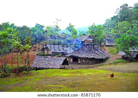 Village in the Rainforest, Espiritu Santo, Vanuatu - stock photo