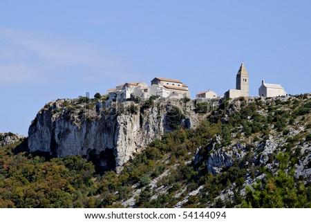 Village Lubenice on island Cres, Croatia. - stock photo