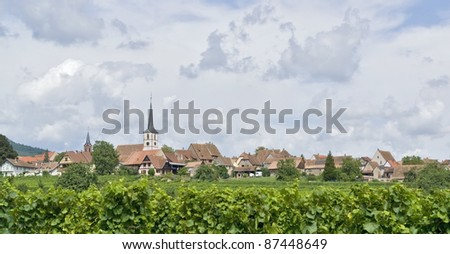 village named Mittelbergheim, a village of a region in France named Alsace - stock photo