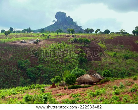 Village Nampevo on the nature. Africa, Mozambique. - stock photo