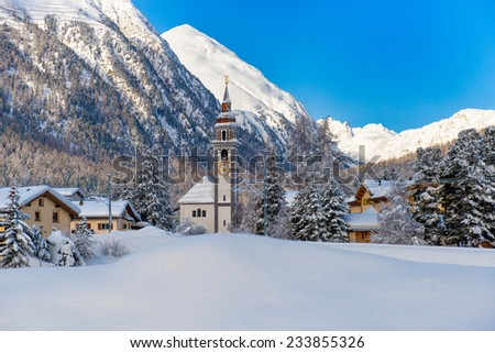Village of Bever, switzerland in the winter - stock photo